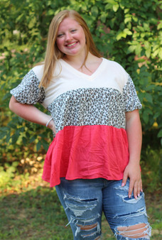 Kris Babydoll Top  Three layered  Plus Size  Tan waffle with leopard and a fiery pink/red bottom