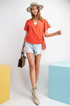 Miley Wrap Top Super cute top perfect for summer! The cutest red color and we love it!