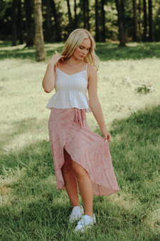 Athens Midi Skirt  - A wrap, marble midi skirt with pink & white  - Model is 5'7 and wears a size small