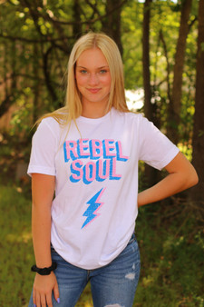 Rebel Soul Graphic Tee  - The cutest little tee perfect to dress up or down!!  - Model is wearing a small