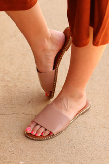 Oliva Slides  - The perfect slides to slip on with any outfit, natural pink with gold accents