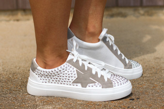 bella star sneakers  - the CUTEST in style sneakers  - studded with a silver star