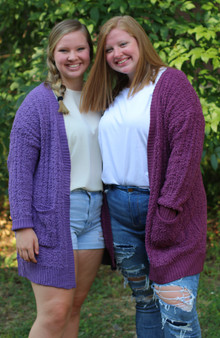 plus popcorn cardigan  - the comfiest cardigan that comes in 2 purples colors  - models are wearing 1X
