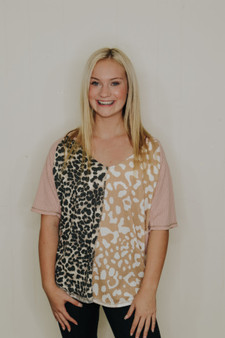 julia leopard tee  - a two toned leopard tee with pink at the top & waffle knit material  - model is wearing a size small
