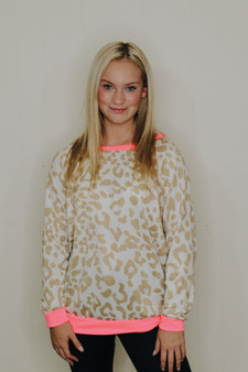 morgan leopard pullover  - a lightweight leopard sweater with hot pink details  - model is wearing a small