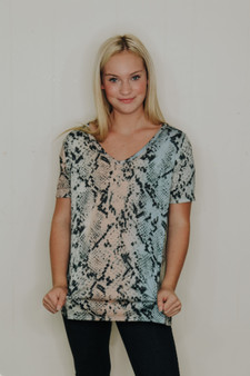 avery snakeskin top  - a pink & blue/green mix, snakeskin print top  - model is wearing a size small