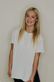 oversized basic tee  - a stretchy, oversized tee that comes in white, black, and blush  - model is wearing a small