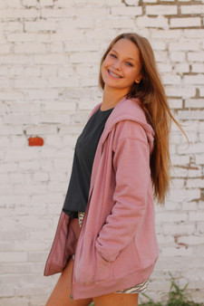 logan sweatshirt  - a super cozy pink jacket perfect for fall  - model is wearing a small