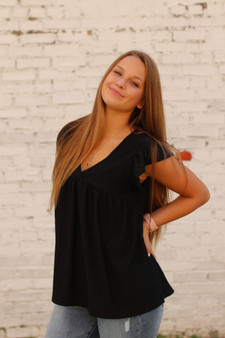 brooklyn eyelet top  - a black v neck eyelet top that is so cute for anything  - model is wearing a size small