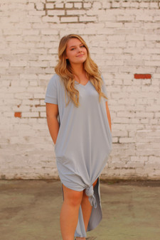 ellie maxi dress  - a super soft, baby blue maxi dress  - model is wearing a size small