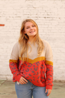 tori colorblock sweater  - a super cozy sweater with cheetah, mustard, cream, and red  - model is wearing a small