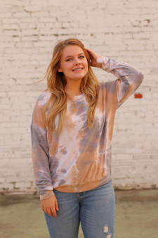 ashton tie dye top  - a lightweight tie dye sweater with blue and tan  - model is wearing a medium