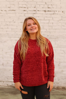 gracie chenille sweater  - a super soft maroon chenille sweater  - model is wearing a small