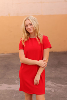 teddi shift dress  - a little basic red dress. the perfect piece to add to your closet!!  - model is wearing a small