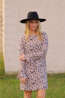lettie printed dress  - a blush colored, dalmatian print dress with ruffled sleeves  - model is wearing a small