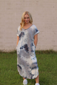 alex maxi dress  - the cutest tie dye maxi dress. a mix of blue, pink and gray  - model is wearing a small