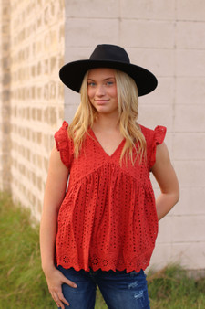 lennon eyelet top  - a rust color eyelet top, perfect for fall  - model is wearing a small