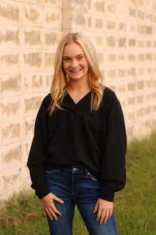 tillie v neck sweater  - a warm, knitted sweater that's perfect for the cooler weather!!  - model is wearing a small