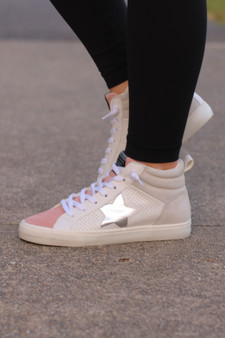 presley high tops  - super well made, blush and cream high tops with a metallic star!!