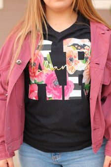 floral AR tee  - a v-neck graphic tee with floral letters  - model is wearing a medium
