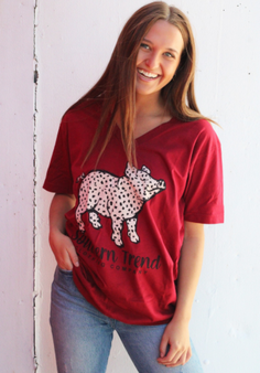 Cute and soft V-neck Leopard Pig tee!