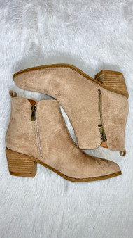 Comfortable taupe booties with a slight wedge!
