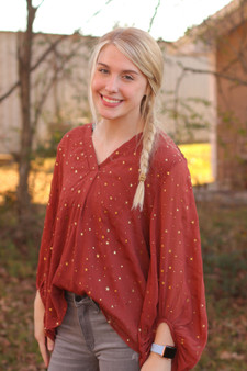 Burgundy V-Neck top with sheer long sleeves and with beautiful gold star accents.