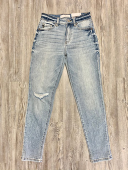 Hemmed Mom Fit Jeans  - mom jeans  - little bit of distress  - light wash