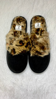 Snooze Slippers  These slippers come in black or taupe  black snooze slippers are black with cheetah print lining  taupe snooze slippers are taupe with taupe lining
