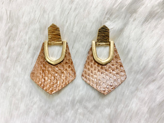 Metal Drop Earrings - genuine leather earrings with gold accents! Comes in dark brown, light brown, snake print, caramel, and black.