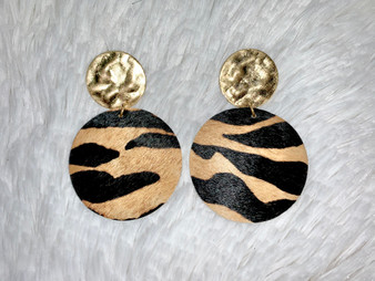 Round Earrings - genuine leather earrings with round gold accents. Comes in zebra and leopard!