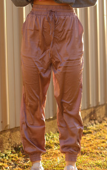 Brielle Satin Joggers - light purple satin texture joggers with adjustable waist band and pockets!