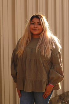 Freya Tiered Top - A very cute ruffled long sleeve top in the color olive!
