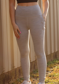 Ariel Grey Leggings - High waisted legging with double pockets in a light heather grey color.