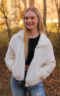 Cece Sherpa Jacket - Warm and cozy white sherpa zip-up jacket with pockets!