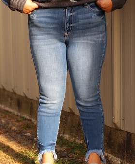 emma frayed jeans - high waisted, medium wash jeans with a frayed bottom!