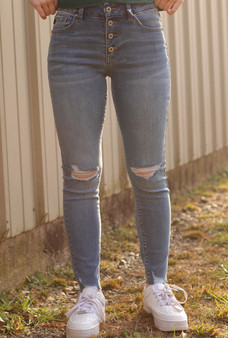 Luna High Rise Jeans - dark medium wash, high rise jeans with two slits on both knees.