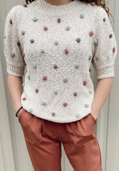 Quinn Dotted Top - Off white short sleeve top with multi color dots. Very soft and comfortable!