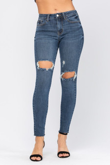 sage distressed jeans  - the cutest, stretchiest new jeans!!  - one whole on the knee and the other above the knee