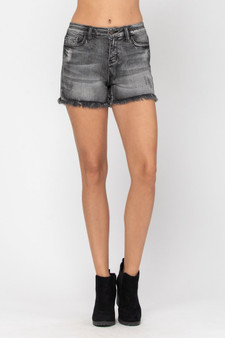 macy frayed shorts  - charcoal gray denim shorts  - longer in length