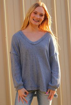 Jade Knitted Sweater  light heather blue V-neck knitted sweater oversized