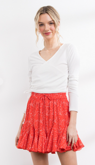 Janice Heart Skirt - Such a cute red skirt!  This skirt has small white heart print, ruffled hem, and an adjustable waistband.