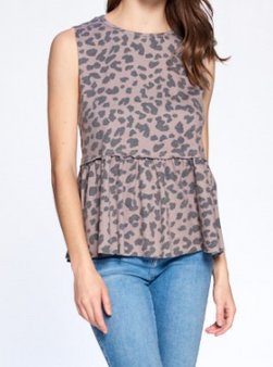 Parker Leopard Top - Chic and breathable top in the color mocha, with a ruffled bottom.