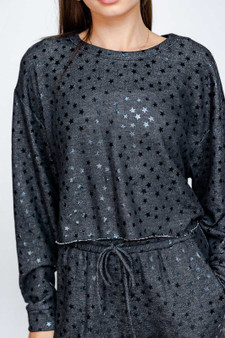 Lana Star Crop - Cute cropped long sleeve top with gleaming stars scattered around!