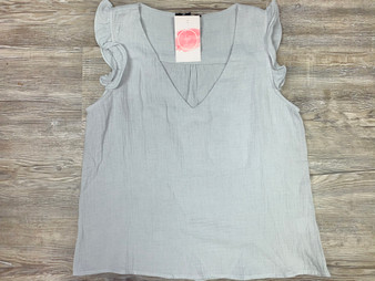 Ivy Set Top - blue/grey top with ruffled sleeves!