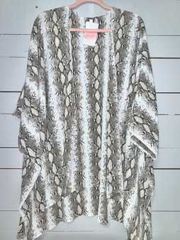 breathable and flowy snakeskin cardigan.