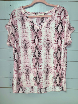 cute v-neck top with a pretty pink snakeskin pattern.