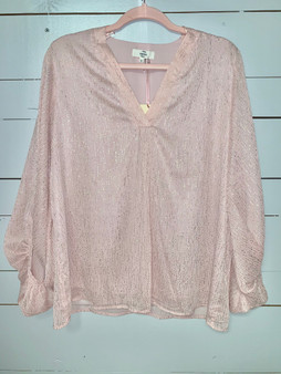 Beautiful pink V-neck top with gleaming silver shimmer.