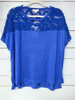 Luna Top - Royal blue short sleeve top with lace.