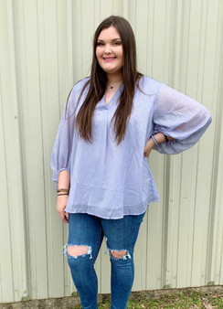 Sasha Glitter Top - lavender v-neck top with silver glitter scattered.